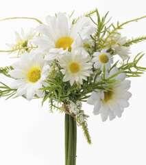 Bouquet marguerites artificielles, 9 fleurs, H 18 cm D 12 cm