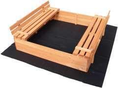Bac à sable avec couvercle pliable 2 bancs 98x98 x20cm