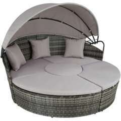 Bain de soleil transat meuble jardin rond modulable gris