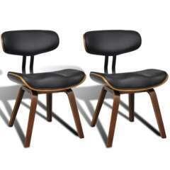 Chaises de cuisine design noir bois - Lot de 2