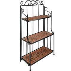 Étagère pour plantes mosaïque 3 niveaux marron terracotta - 114cm