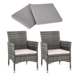 Lot de 2 fauteuils de jardin acier avec 2 sets de housses gris