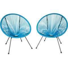 Lot de 2 chaises de jardin bleu