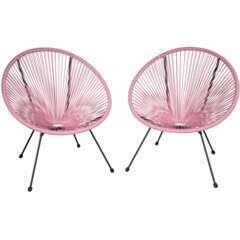 Lot de 2 chaises de jardin rose