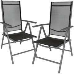 Lot de 2 chaises de jardin pliantes noir/anthracite