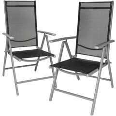 Lot de 2 chaises de jardin pliantes noir/gris