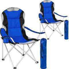 Lot de 2 chaises pliantes camping jardin avec rembourrage bleu