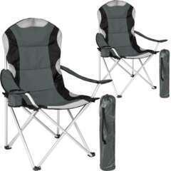 Lot de 2 chaises pliantes camping jardin avec rembourrage gris