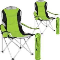 Lot de 2 chaises pliantes camping jardin avec rembourrage vert