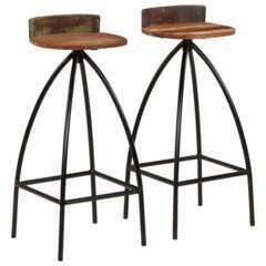Tabourets de bar design bois recyclé massif - Lot de 2