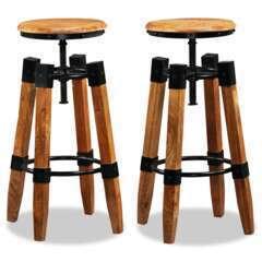 Tabourets de bar design bois de manguier massif et acier - Lot de 2