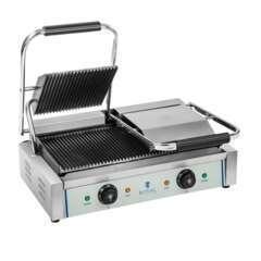 Machine à panini nervurée double - 2x1.800W acier inox