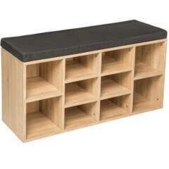 Meuble à chaussures étagère meuble banc gris foncé/marron