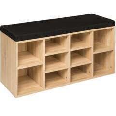 Meuble à chaussures étagère meuble banc noir/marron chêne clair