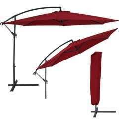 Parasol déporté diamètre 350cm rouge avec Housse