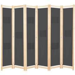 Paravent 6 panneaux gris tissu - 240x170x4cm