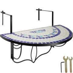 Table de balcon rabattable blanc/bleu 76cm