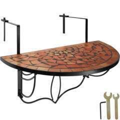 Table de balcon rabattable marron terracotta 76cm