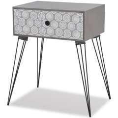 Table de nuit avec 1 tiroir rectangulaire gris