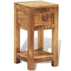 Table de nuit avec 1 tiroir bois massif de manguier