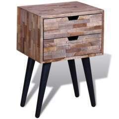 Table de nuit avec 2 tiroirs bois de teck recyclé
