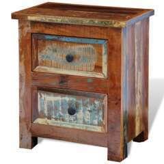 Table de nuit avec 2 tiroirs bois massif recyclé
