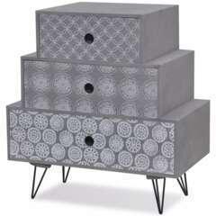 Table de nuit avec 3 tiroirs gris