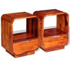 Table de nuit avec tiroir bois de sesham - 40x30x50cm - Lot de 2