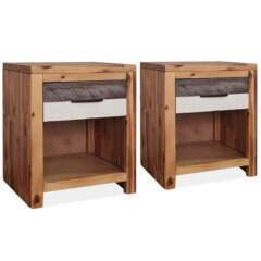 Table de nui bois d'acacia massif - 40x30x48cm - Lot de 2