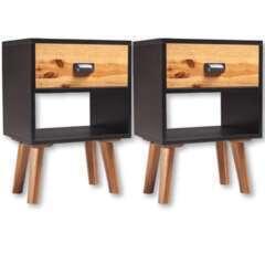 Table de nuit bois massif d'acacia - 40x30x58cm - Lot de 2