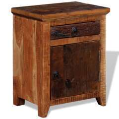 Table de nuit bois d'acacia et bois de traverses