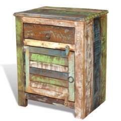 Table de nuit de coin avec 1 tiroir et 1 porte bois de récupération