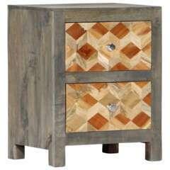 Table de nuit gris bois de manguier massif - 40x30x50cm