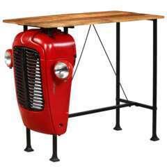 Table haute bar bois de manguier rouge tracteur - 120cm