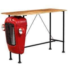 Table haute bar bois de manguier rouge tracteur - 150cm