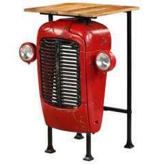 Table haute bar bois de manguier massif rouge tracteur - 107cm