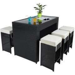 Table haute salon de jardin rotin + 6 tabourets rotin noir