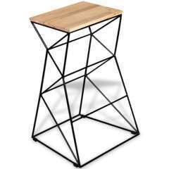 Tabouret de bar design chaise siège bois de manguier massif