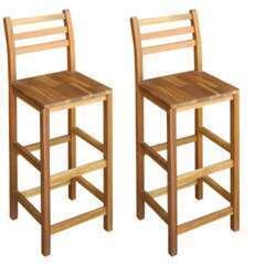 Tabourets de bar design chaise siège bois massif d'acacia - Lot de 2