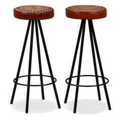 Tabourets de bar design cuir véritable et toile - Lot de 2