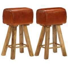 Tabourets de bar design bois de manguier cuir - Lot de 2