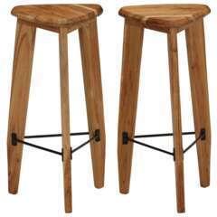 Tabourets de bar design bois d'acacia massif triangulaire - Lot de 2