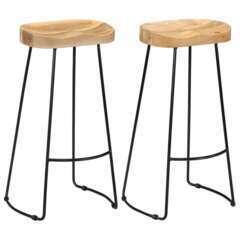 Tabourets de bar design bois de manguier massif - Lot de 2