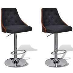 Tabourets de bar noir et bois top design moderne - Lot de 2