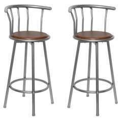 Tabourets de bar bois marron design moderne - Lot de 2