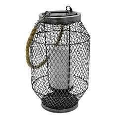 Lanterne en métal grillagé LED blanc chaud GRID H27cm