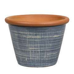 Pot Verona bleu pour plantes extérieur emaillé - D.28 x H.21 cm