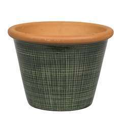 Pot Verona vert pour plantes extérieur emaillé - D.17 x H.15 cm