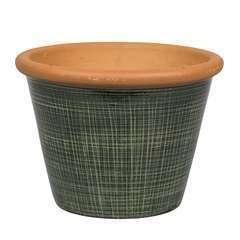 Pot Verona vert pour plantes extérieur emaillé - D.23 x H.18,5 cm