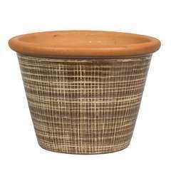Pot Verona marron pour plantes extérieur emaillé - D.23 x H.18,5 cm
